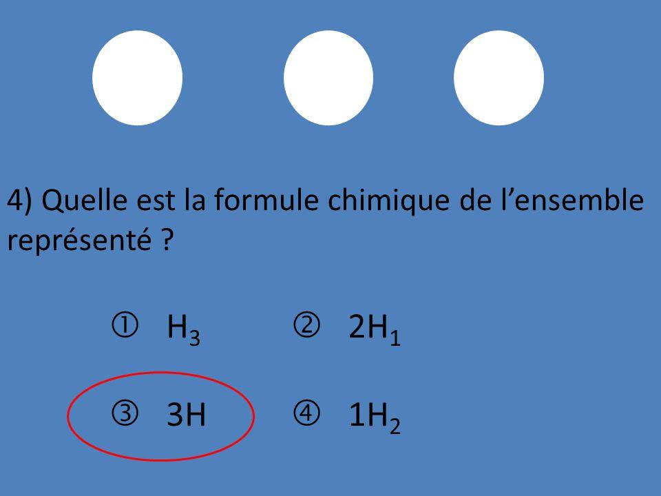 4) Quelle est la formule chimique de lensemble représenté ? H 3 2H 1 3H 1H 2