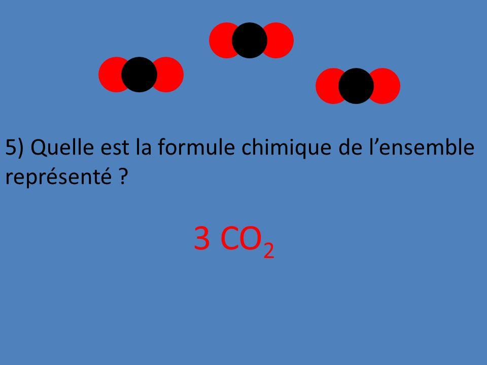 5) Quelle est la formule chimique de lensemble représenté ? 3 CO 2