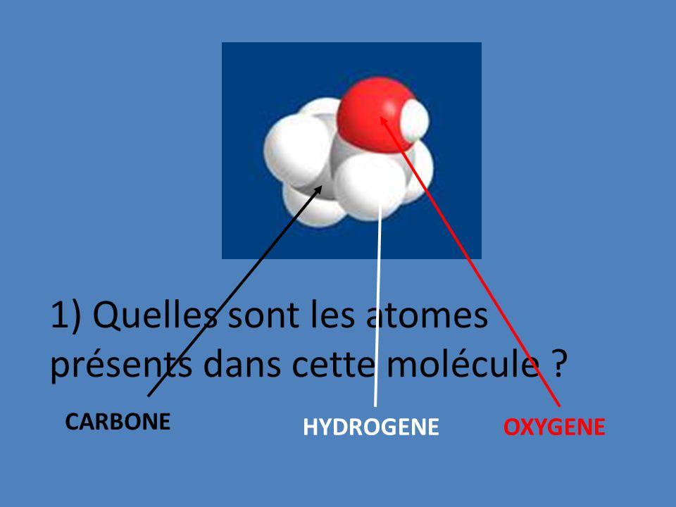 1) Quelles sont les atomes présents dans cette molécule ? CARBONE HYDROGENE OXYGENE