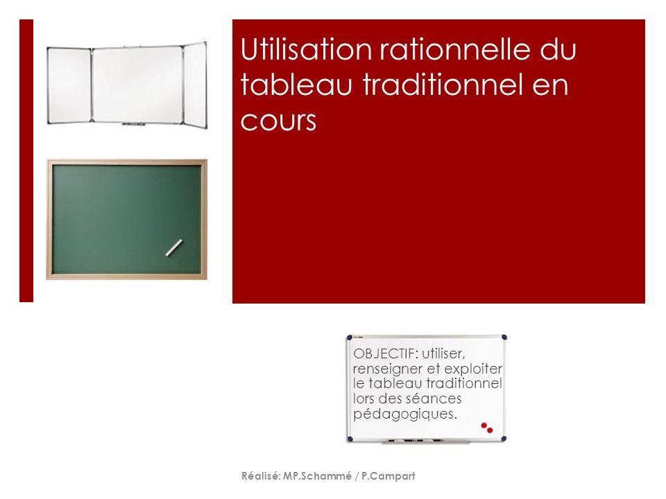 Utilisation rationnelle du tableau traditionnel en cours OBJECTIF: utiliser, renseigner et exploiter le tableau traditionnel lors des séances pédagogi