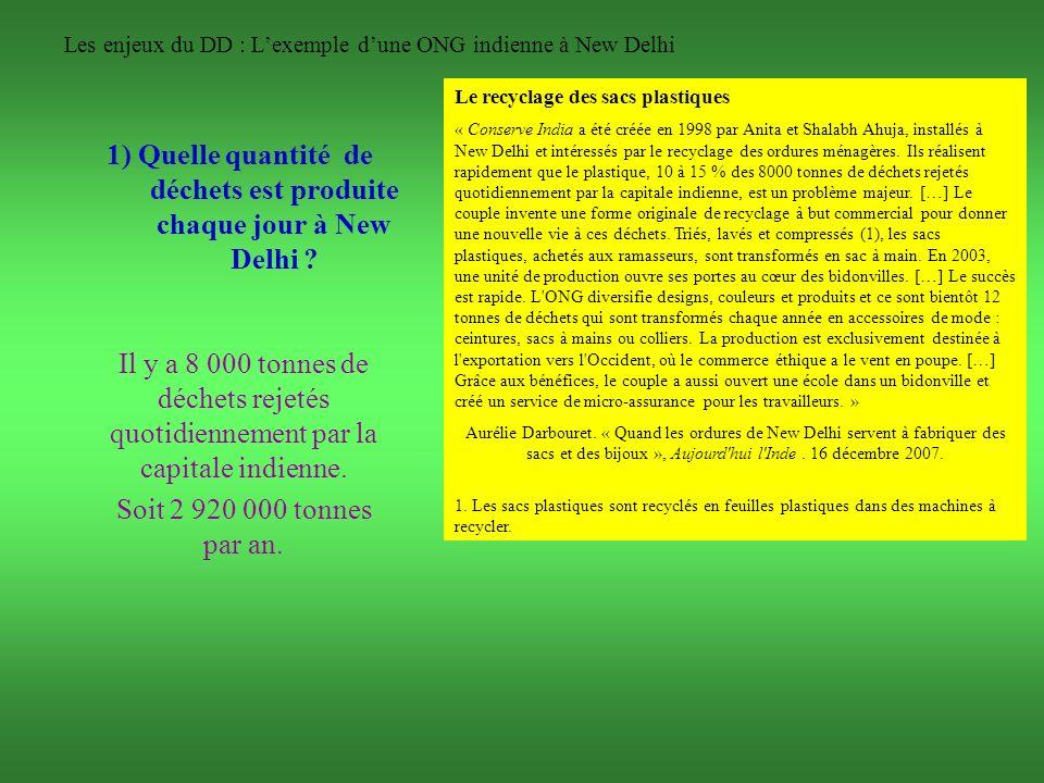 Les enjeux du DD : Lexemple dune ONG indienne à New Delhi 1) Quelle quantité de déchets est produite chaque jour à New Delhi ? Il y a 8 000 tonnes de