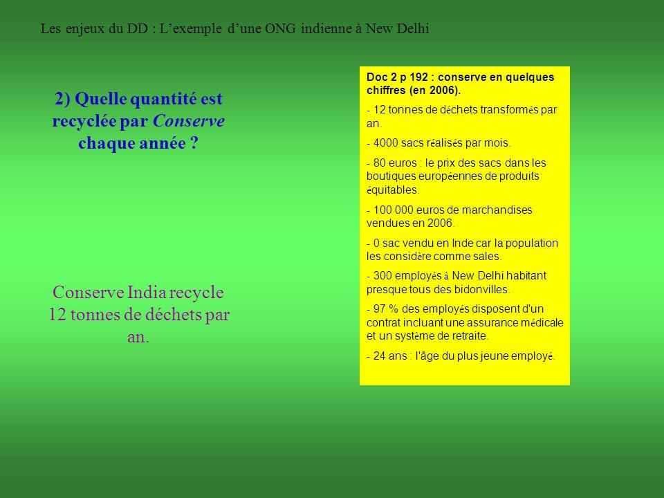 Les enjeux du DD : Lexemple dune ONG indienne à New Delhi 2) Quelle quantité est recyclée par Conserve chaque année ? Doc 2 p 192 : conserve en quelqu