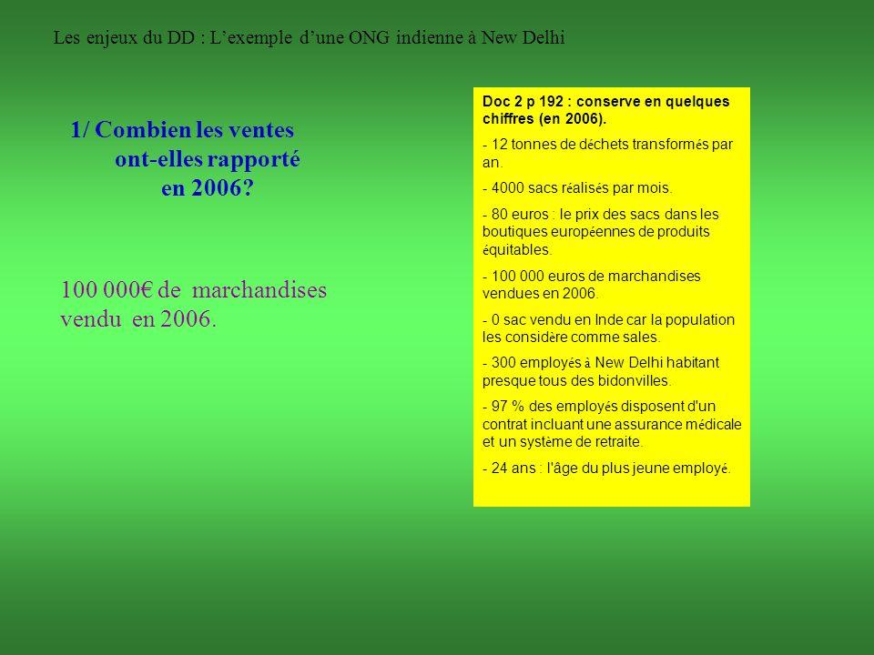 Les enjeux du DD : Lexemple dune ONG indienne à New Delhi 1/ Combien les ventes ont-elles rapporté en 2006? 100 000 de marchandises vendu en 2006. Doc