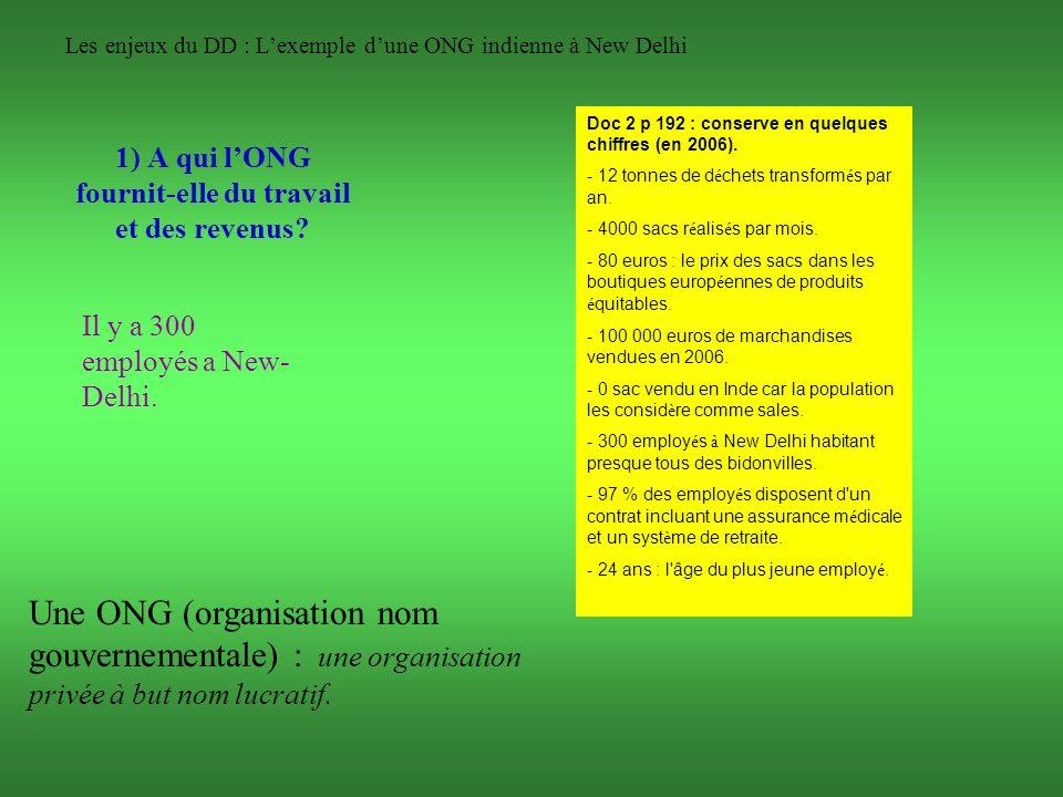Les enjeux du DD : Lexemple dune ONG indienne à New Delhi 1) A qui lONG fournit-elle du travail et des revenus? Il y a 300 employés a New- Delhi. Une