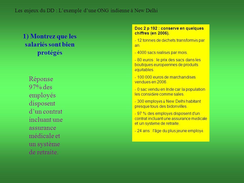 Les enjeux du DD : Lexemple dune ONG indienne à New Delhi 1) Montrez que les salariés sont bien protégés Réponse 97% des employés disposent dun contra