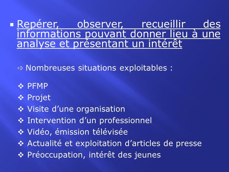 Repérer, observer, recueillir des informations pouvant donner lieu à une analyse et présentant un intérêt Nombreuses situations exploitables : PFMP Pr
