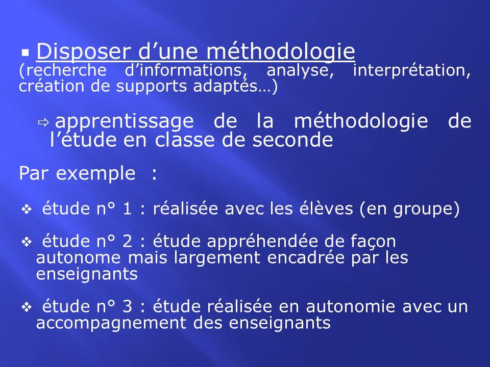 Disposer dune méthodologie (recherche dinformations, analyse, interprétation, création de supports adaptés…) apprentissage de la méthodologie de létud