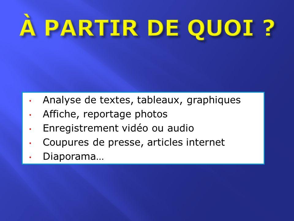Analyse de textes, tableaux, graphiques Affiche, reportage photos Enregistrement vidéo ou audio Coupures de presse, articles internet Diaporama…