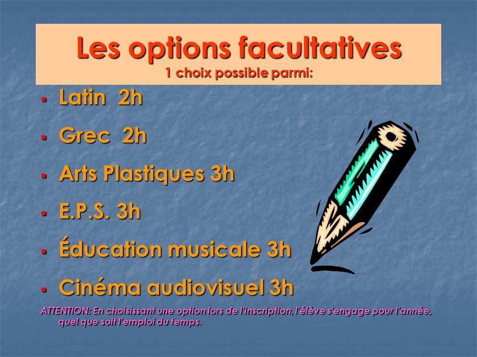 Les options facultatives 1 choix possible parmi: Latin 2h Latin 2h Grec 2h Grec 2h Arts Plastiques 3h Arts Plastiques 3h E.P.S.