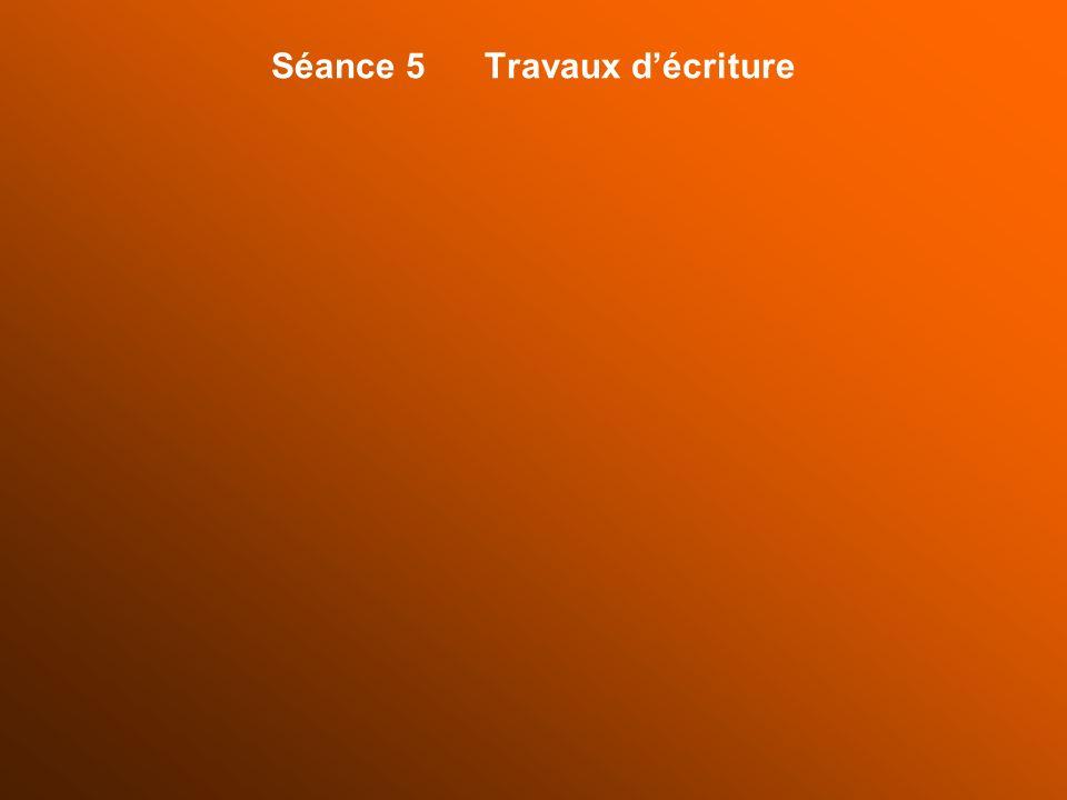 Séance 5 Travaux décriture
