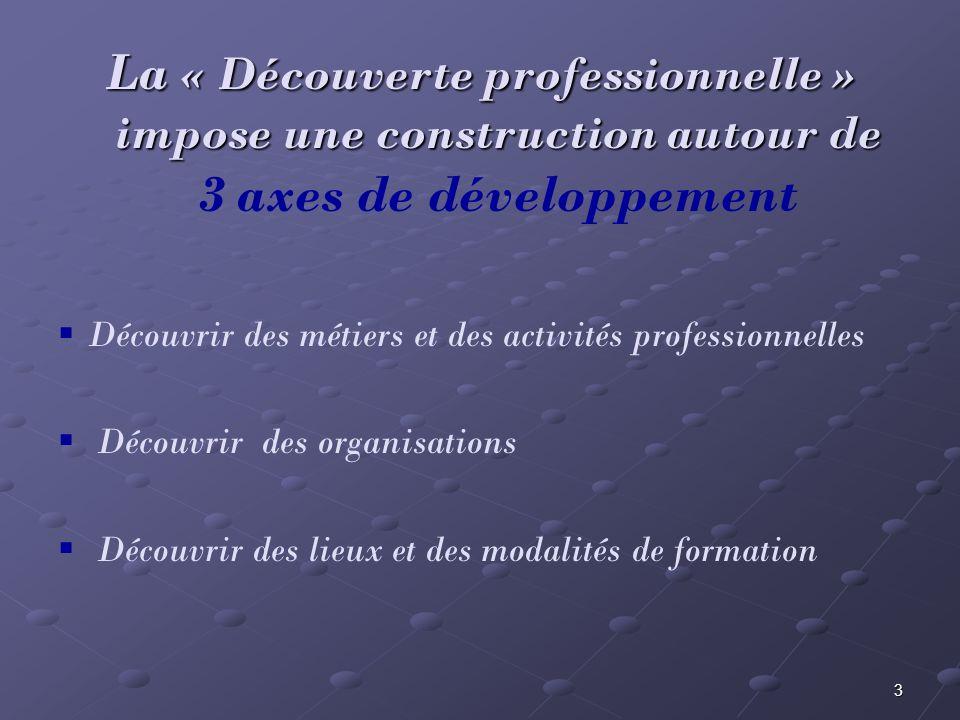 3 La « Découverte professionnelle » impose une construction autour de La « Découverte professionnelle » impose une construction autour de 3 axes de dé