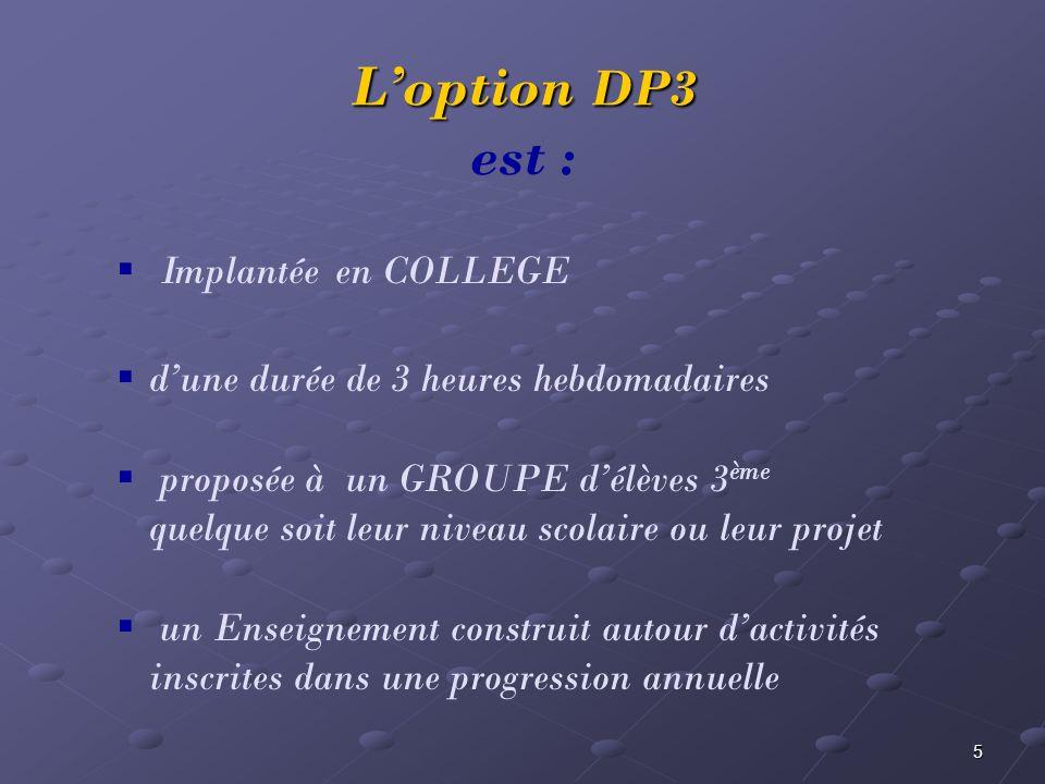 5 Loption DP3 Loption DP3 est : Implantée en COLLEGE dune durée de 3 heures hebdomadaires proposée à un GROUPE délèves 3 ème quelque soit leur niveau