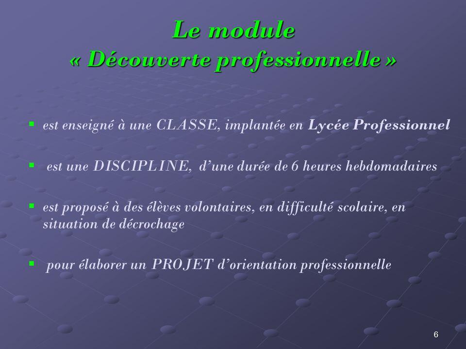 6 Le module « Découverte professionnelle » est enseigné à une CLASSE, implantée en Lycée Professionnel est une DISCIPLINE, dune durée de 6 heures hebd
