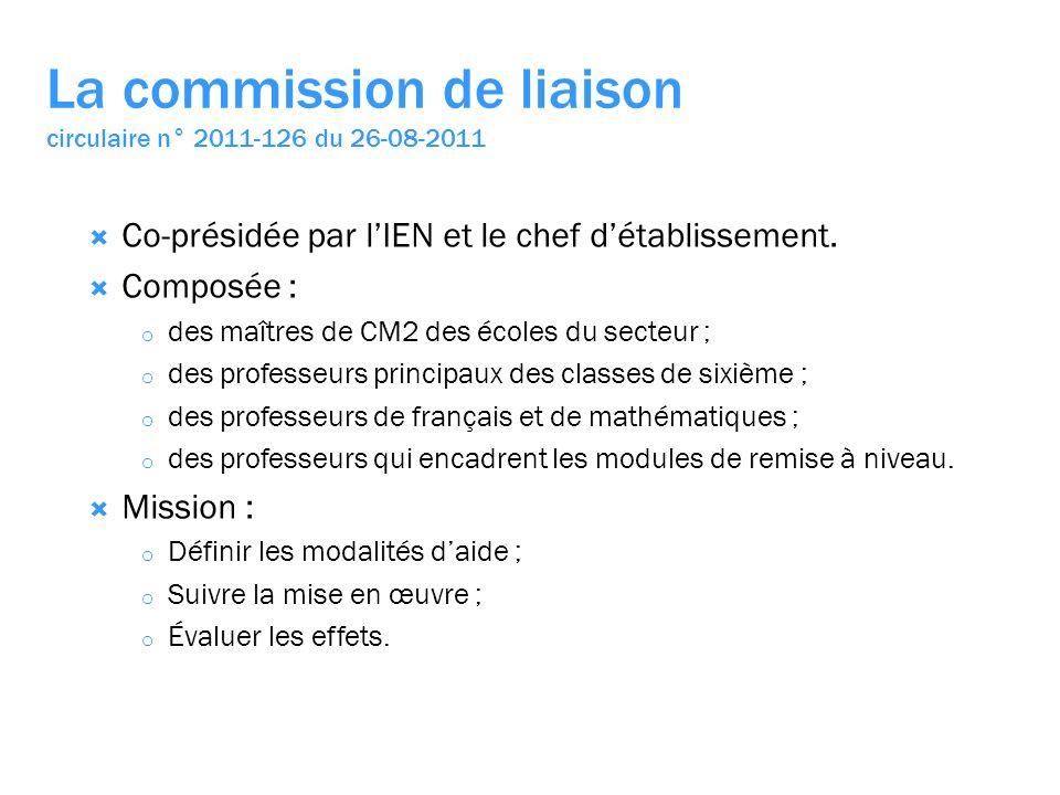 La commission de liaison circulaire n° 2011-126 du 26-08-2011 Co-présidée par lIEN et le chef détablissement.
