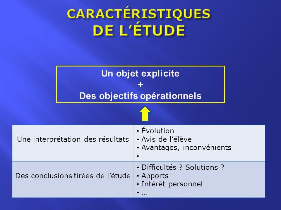 Un objet explicite + Des objectifs opérationnels Une interprétation des résultats Évolution Avis de lélève Avantages, inconvénients … Des conclusions tirées de létude Difficultés .