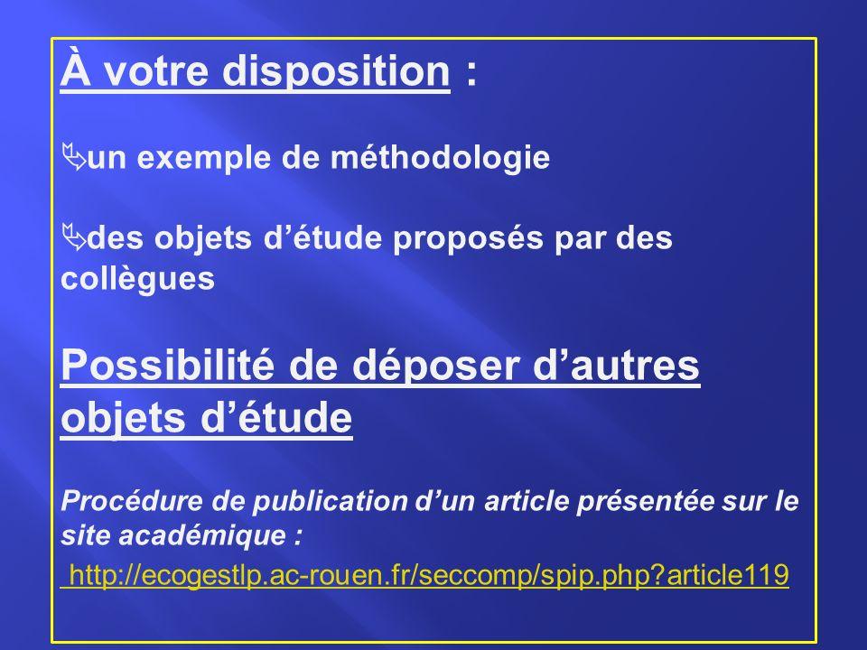 À votre disposition : un exemple de méthodologie des objets détude proposés par des collègues Possibilité de déposer dautres objets détude Procédure de publication dun article présentée sur le site académique : http://ecogestlp.ac-rouen.fr/seccomp/spip.php?article119 http://ecogestlp.ac-rouen.fr/seccomp/spip.php?article119