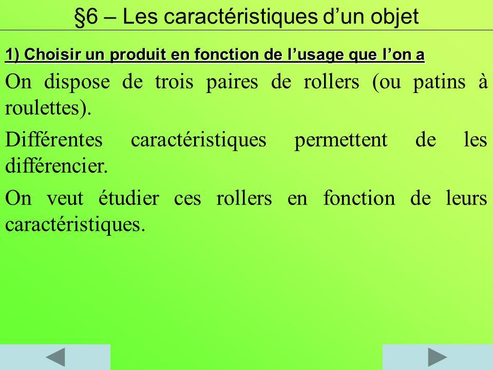 1) Choisir un produit en fonction de lusage que lon a On dispose de trois paires de rollers (ou patins à roulettes). Différentes caractéristiques perm