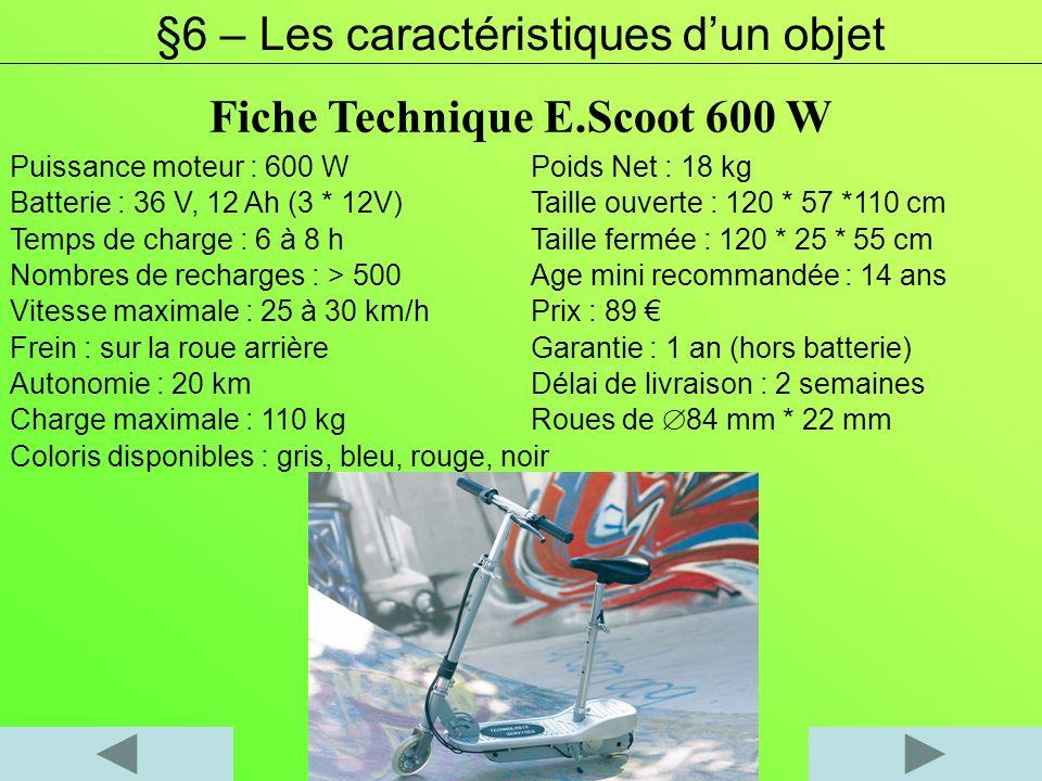 Puissance moteur : 600 WPoids Net : 18 kg Batterie : 36 V, 12 Ah (3 * 12V)Taille ouverte : 120 * 57 *110 cm Temps de charge : 6 à 8 hTaille fermée : 1