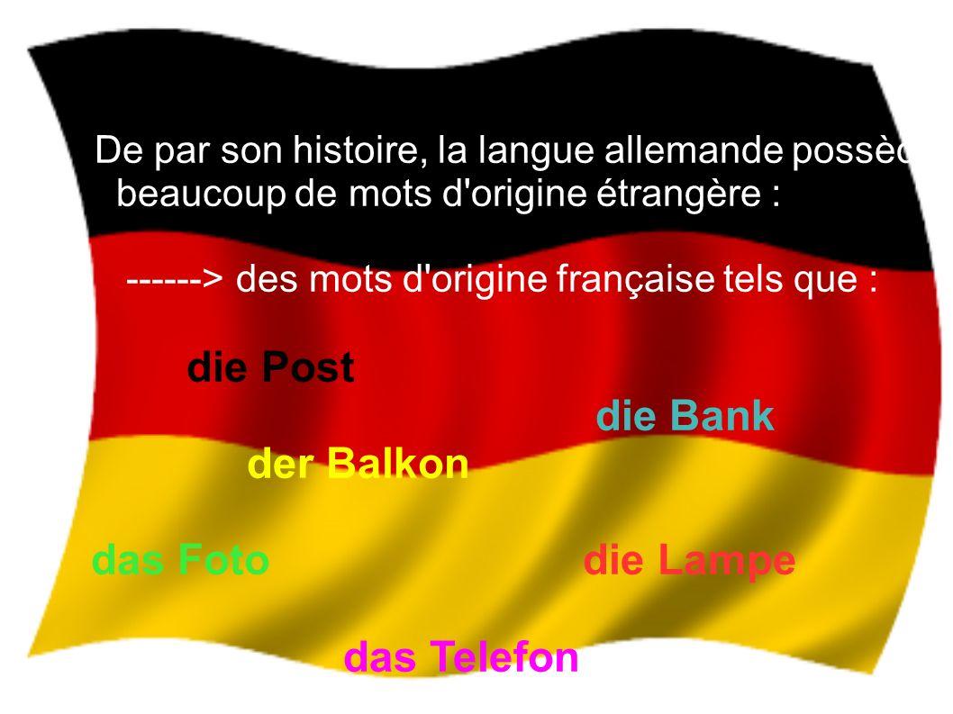 -----> mais aussi des mots ressemblant à L anglais, car l anglais et l allemand sont des langues voisines der Wind der Apfel der Name das Haus der Vater der Name