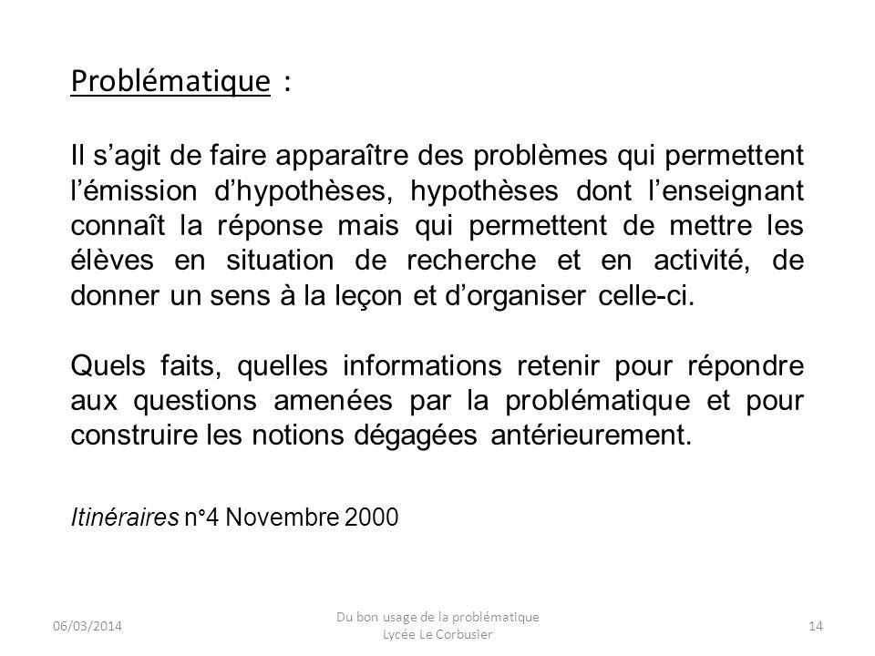 06/03/2014 Du bon usage de la problématique Lycée Le Corbusier 14 Il sagit de faire apparaître des problèmes qui permettent lémission dhypothèses, hyp