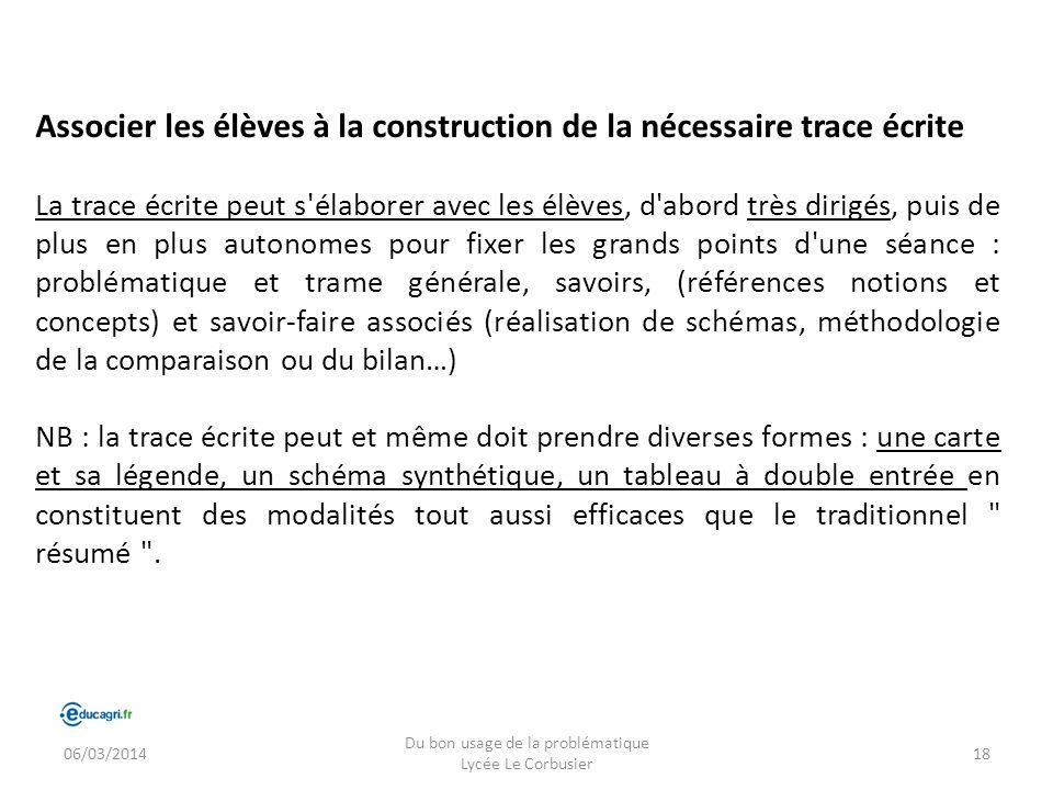 06/03/2014 Du bon usage de la problématique Lycée Le Corbusier 18 Associer les élèves à la construction de la nécessaire trace écrite La trace écrite