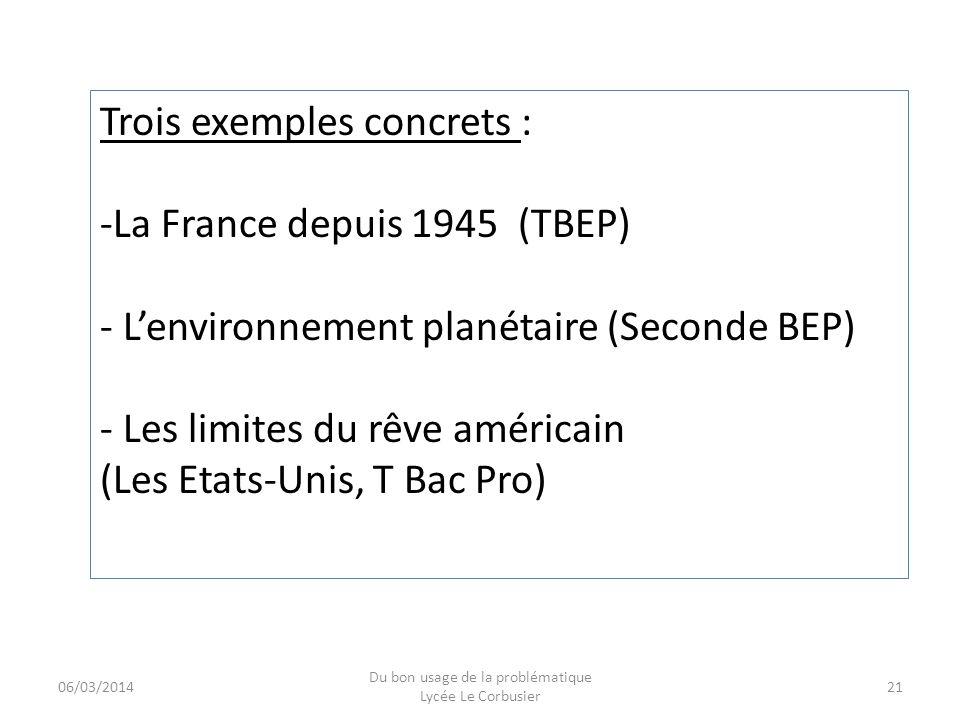 06/03/2014 Du bon usage de la problématique Lycée Le Corbusier 21 Trois exemples concrets : -La France depuis 1945 (TBEP) - Lenvironnement planétaire