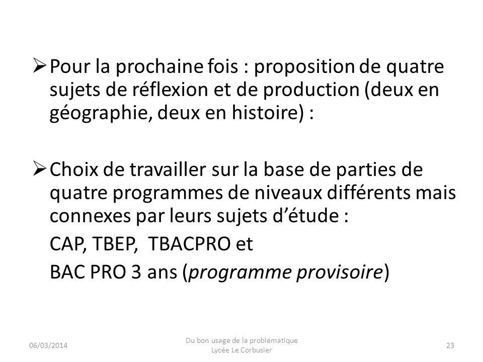 Pour la prochaine fois : proposition de quatre sujets de réflexion et de production (deux en géographie, deux en histoire) : Choix de travailler sur l