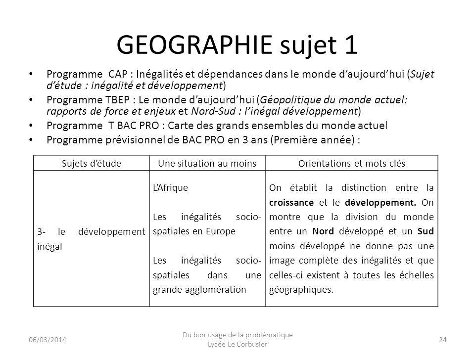 GEOGRAPHIE sujet 1 Programme CAP : Inégalités et dépendances dans le monde daujourdhui (Sujet détude : inégalité et développement) Programme TBEP : Le