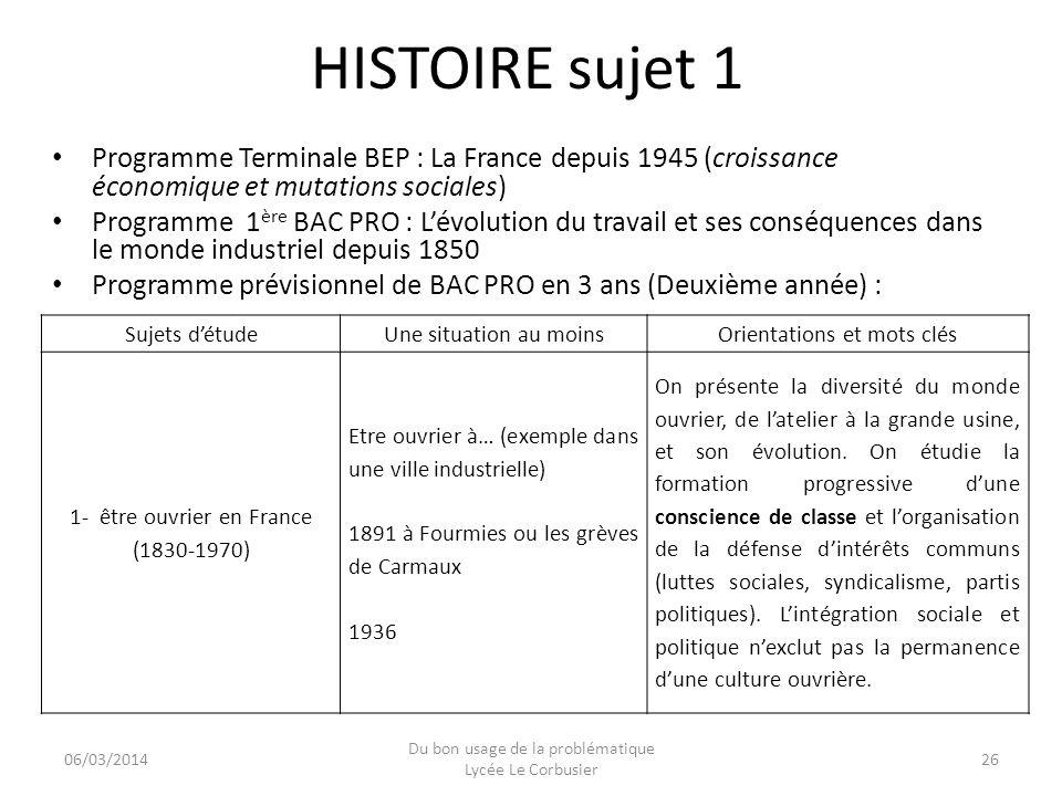 06/03/2014 Du bon usage de la problématique Lycée Le Corbusier 26 HISTOIRE sujet 1 Programme Terminale BEP : La France depuis 1945 (croissance économi