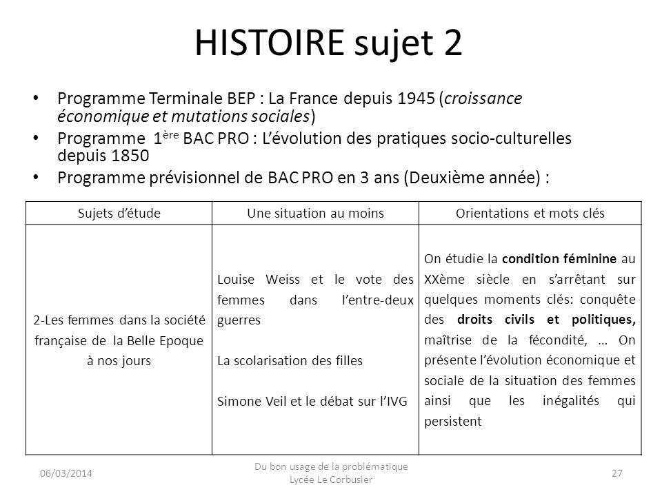 06/03/2014 Du bon usage de la problématique Lycée Le Corbusier 27 HISTOIRE sujet 2 Programme Terminale BEP : La France depuis 1945 (croissance économi