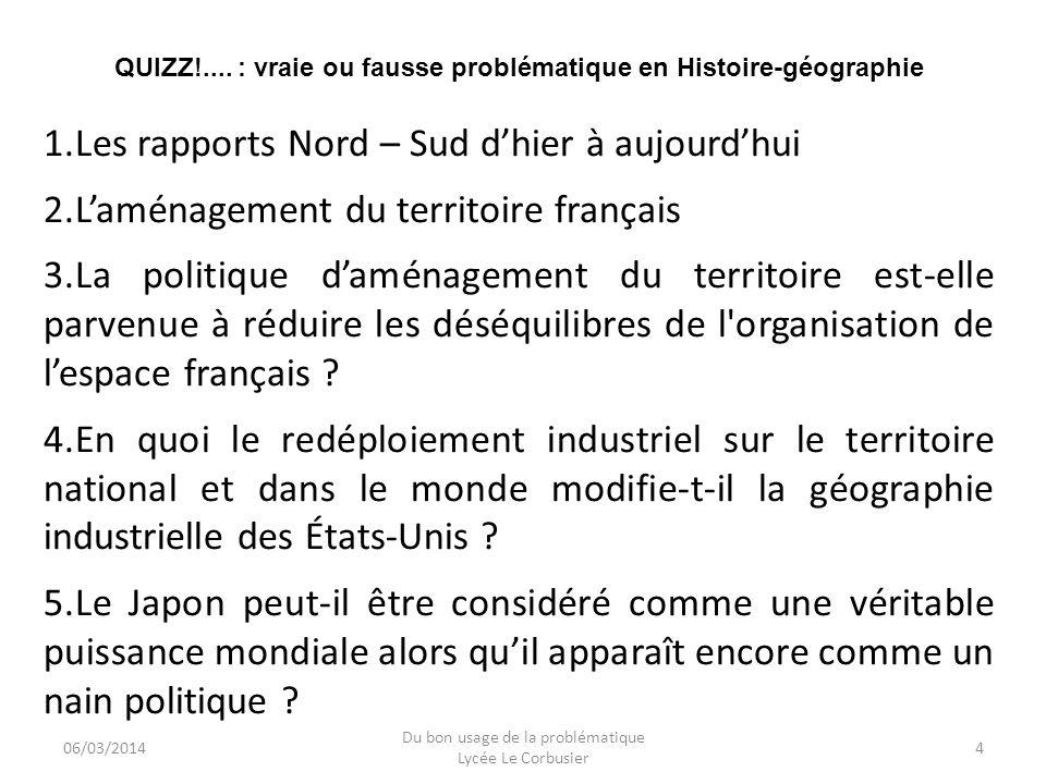 06/03/2014 Du bon usage de la problématique Lycée Le Corbusier 5 QUIZZ!....