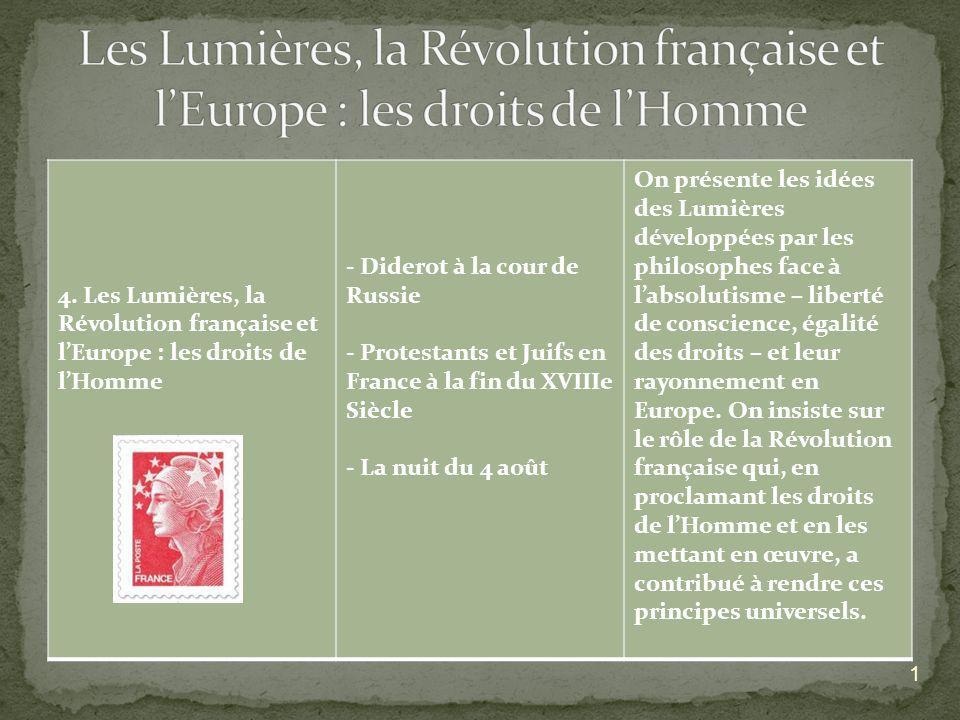 4. Les Lumières, la Révolution française et lEurope : les droits de lHomme - Diderot à la cour de Russie - Protestants et Juifs en France à la fin du