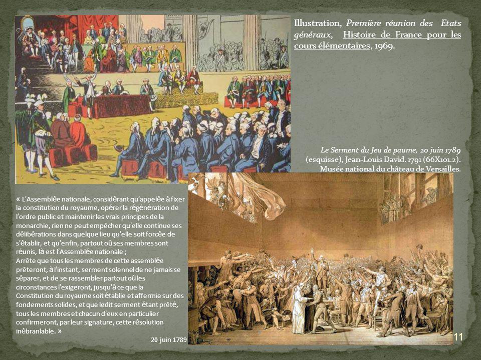 11 Illustration, Première réunion des Etats généraux, Histoire de France pour les cours élémentaires, 1969. Le Serment du Jeu de paume, 20 juin 1789 (