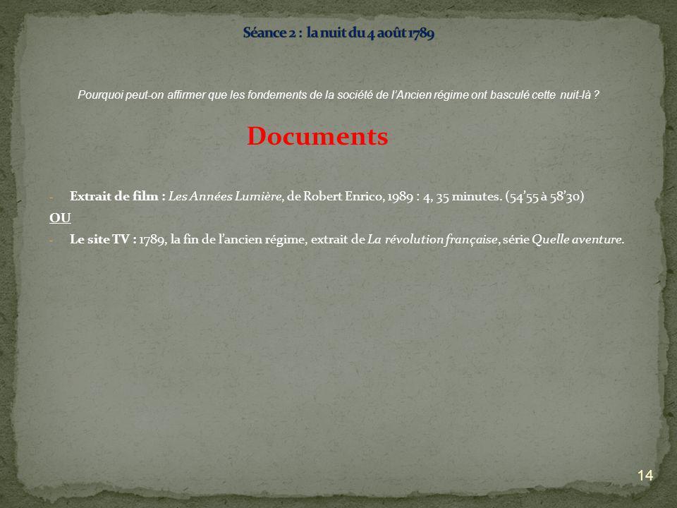 - Extrait de film : Les Années Lumière, de Robert Enrico, 1989 : 4, 35 minutes. (5455 à 5830) OU - Le site TV : 1789, la fin de lancien régime, extrai