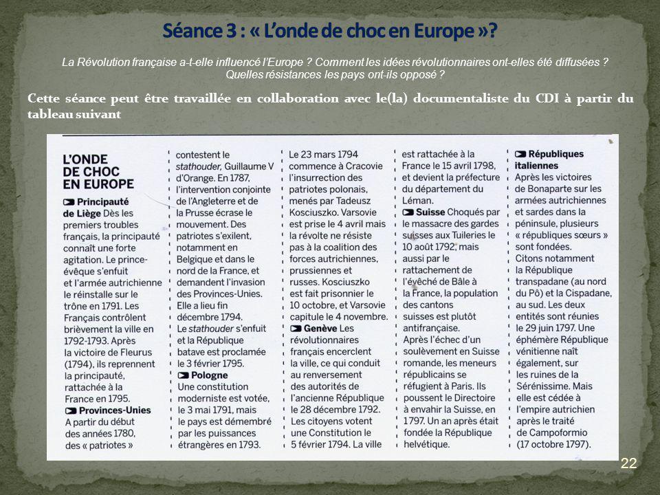 22 La Révolution française a-t-elle influencé lEurope ? Comment les idées révolutionnaires ont-elles été diffusées ? Quelles résistances les pays ont-