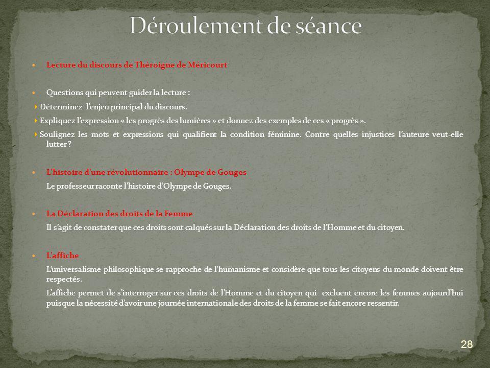 Lecture du discours de Théroigne de Méricourt Questions qui peuvent guider la lecture : Déterminez lenjeu principal du discours. Expliquez lexpression