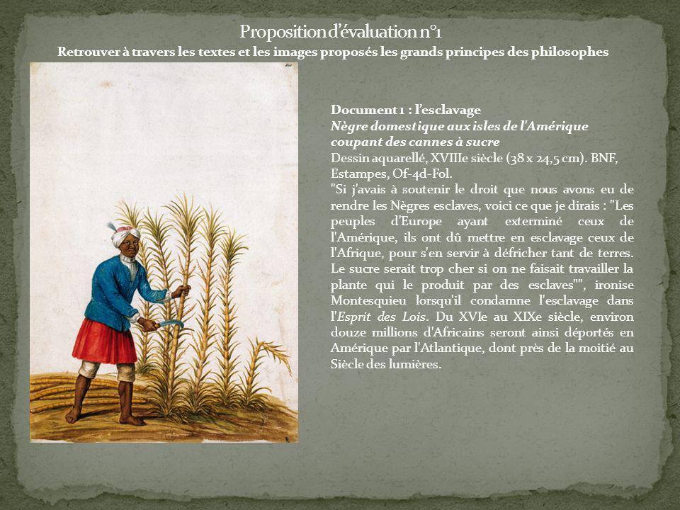 Retrouver à travers les textes et les images proposés les grands principes des philosophes Document 1 : lesclavage Nègre domestique aux isles de l'Amé