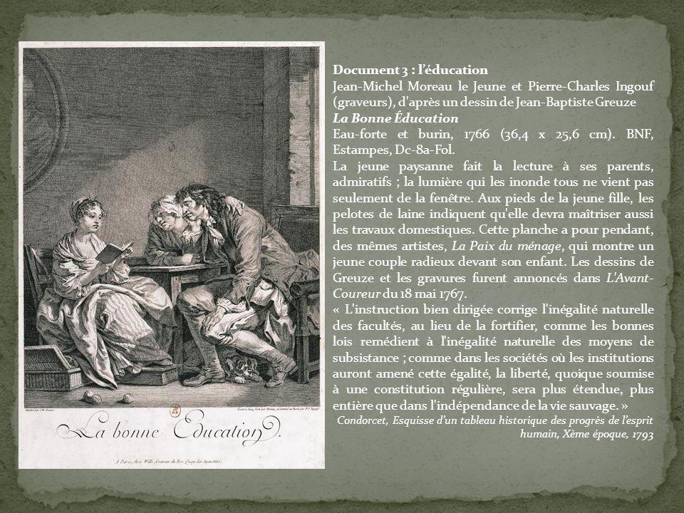Document 3 : léducation Jean-Michel Moreau le Jeune et Pierre-Charles Ingouf (graveurs), d'après un dessin de Jean-Baptiste Greuze La Bonne Éducation