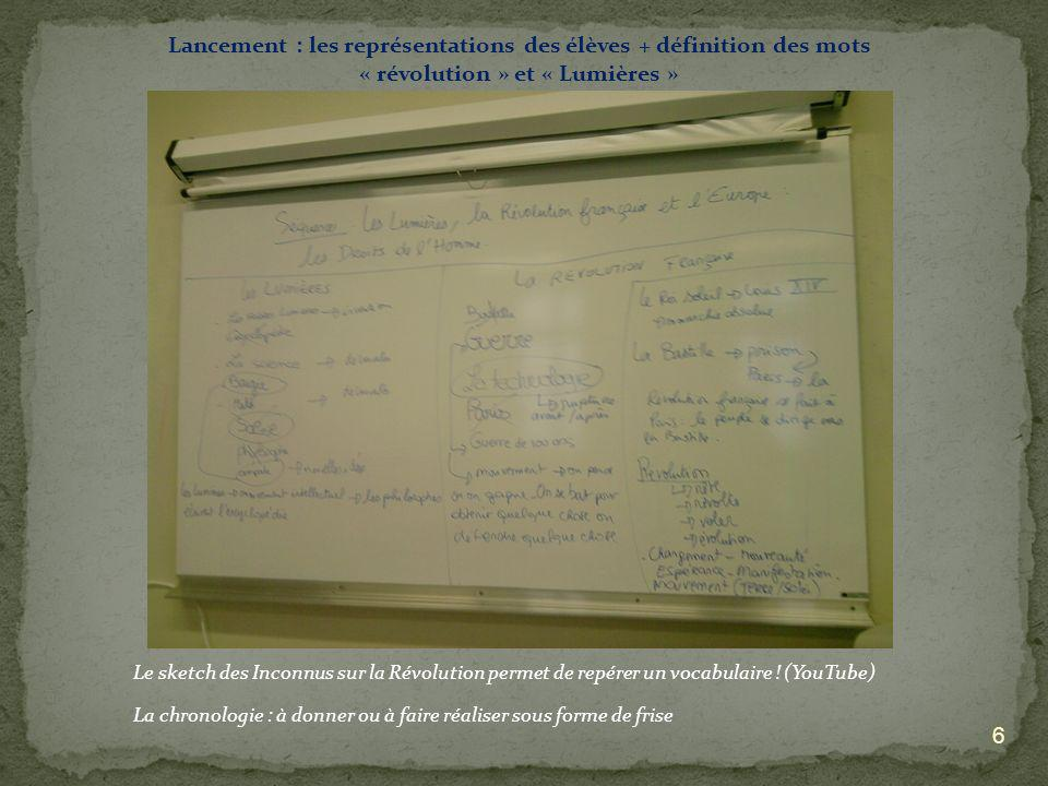 6 Lancement : les représentations des élèves + définition des mots « révolution » et « Lumières » Le sketch des Inconnus sur la Révolution permet de r