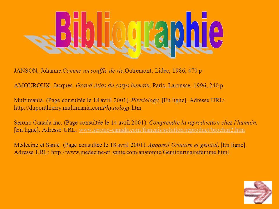 JANSON, Johanne.Comme un souffle de vie,Outremont, Lidec, 1986, 470 p AMOUROUX, Jacques. Grand Atlas du corps humain, Paris, Larousse, 1996, 240 p. Mu
