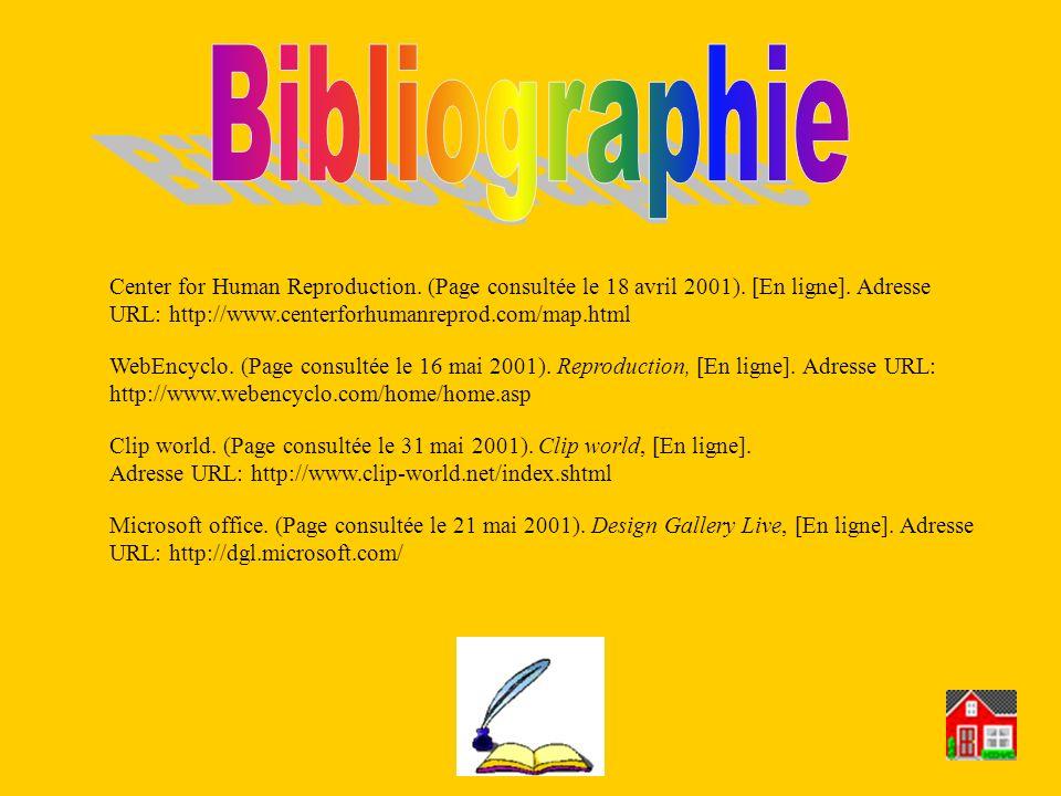 Center for Human Reproduction. (Page consultée le 18 avril 2001). [En ligne]. Adresse URL: http://www.centerforhumanreprod.com/map.html Clip world. (P