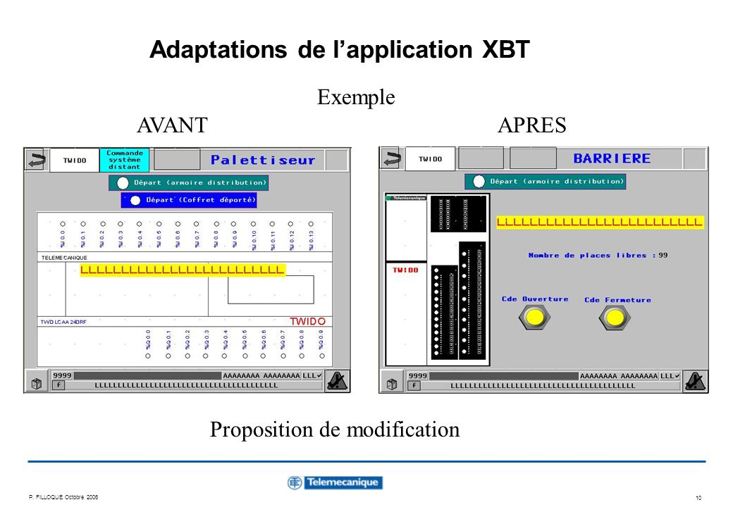 P. FILLOQUE Octobre 2006 10 Adaptations de lapplication XBT AVANTAPRES Exemple Proposition de modification