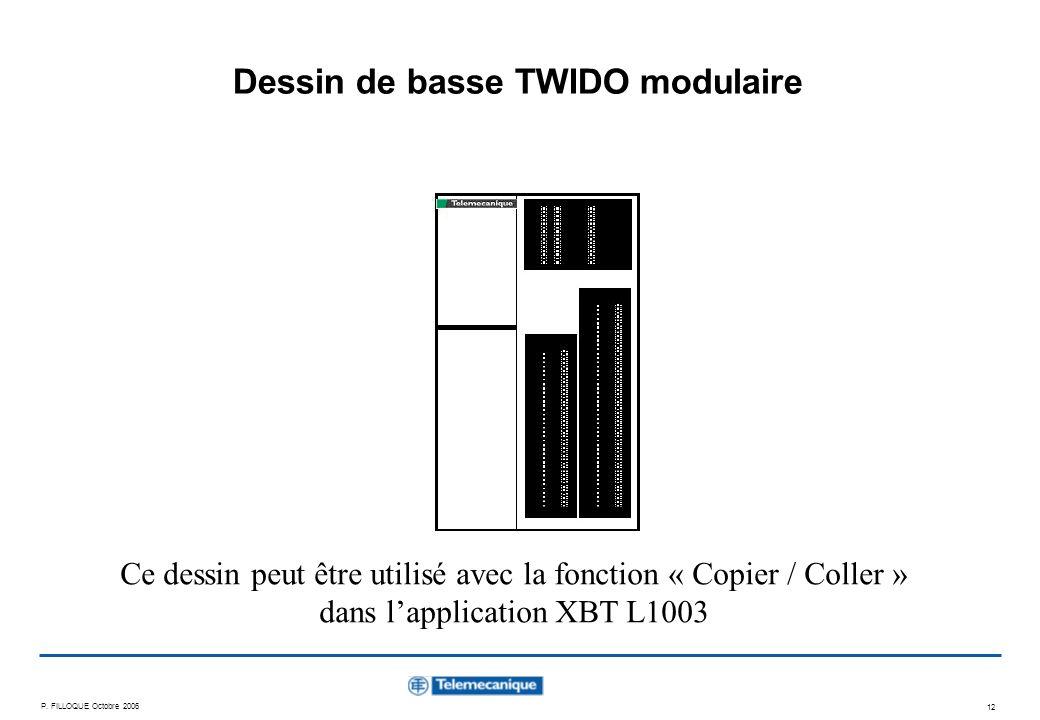 P. FILLOQUE Octobre 2006 12 Dessin de basse TWIDO modulaire Ce dessin peut être utilisé avec la fonction « Copier / Coller » dans lapplication XBT L10