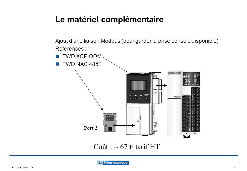 P. FILLOQUE Octobre 2006 3 Le matériel complémentaire Ajout dune liaison Modbus (pour garder la prise console disponible) Références : TWD XCP ODM TWD