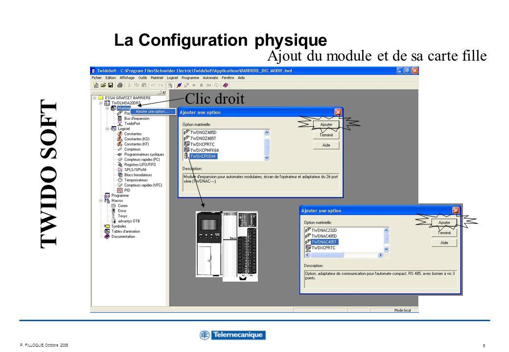 P. FILLOQUE Octobre 2006 5 La Configuration physique Clic droit Ajout du module et de sa carte fille TWIDO SOFT