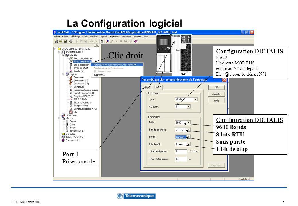 P. FILLOQUE Octobre 2006 6 La Configuration logiciel Clic droit Configuration DICTALIS 9600 Bauds 8 bits RTU Sans parité 1 bit de stop Configuration D