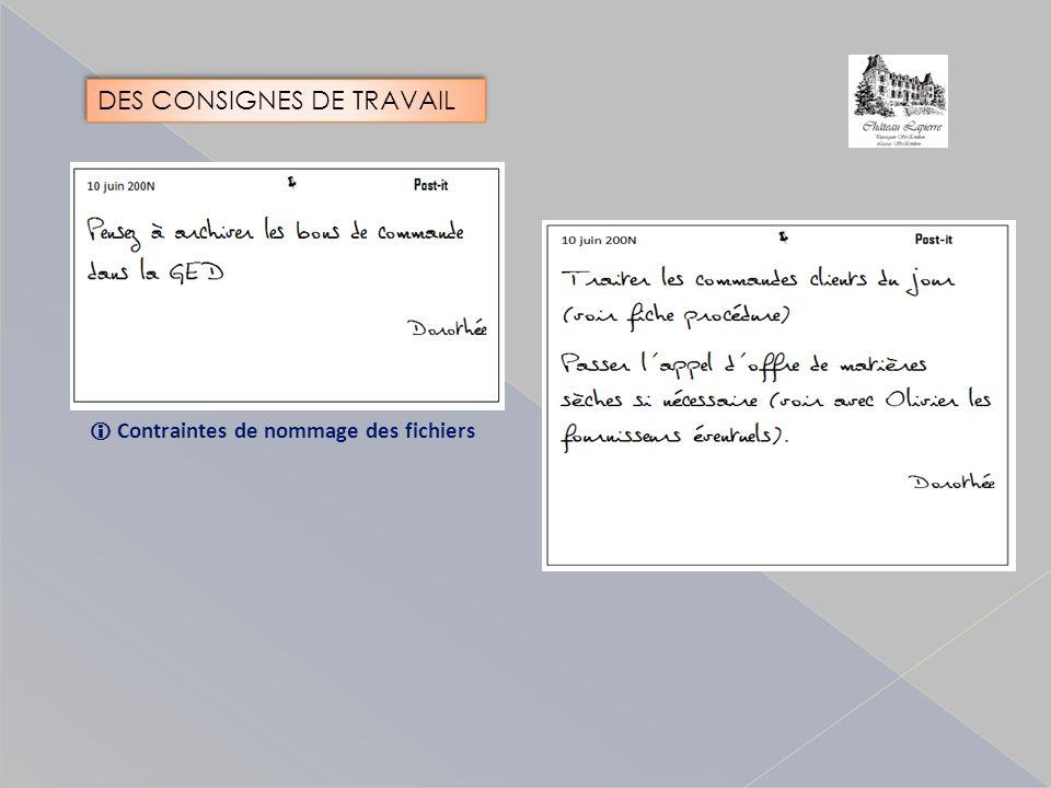 Contraintes de nommage des fichiers DES CONSIGNES DE TRAVAIL