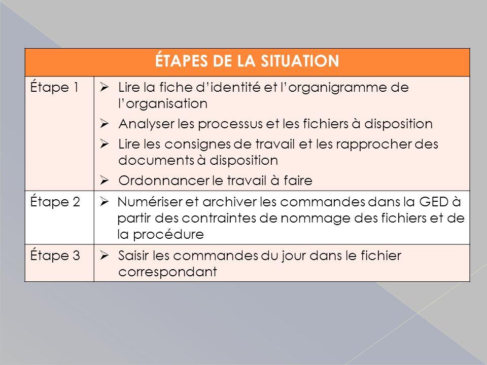 ÉTAPES DE LA SITUATION Étape 1 Lire la fiche didentité et lorganigramme de lorganisation Analyser les processus et les fichiers à disposition Lire les