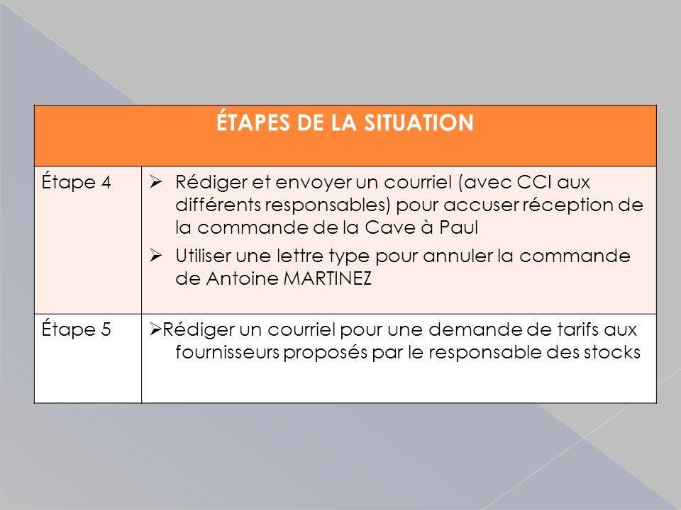 ÉTAPES DE LA SITUATION Étape 4 Rédiger et envoyer un courriel (avec CCI aux différents responsables) pour accuser réception de la commande de la Cave