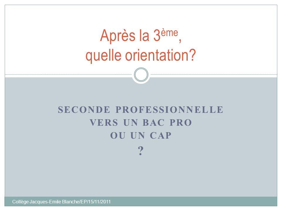 Collège Jacques-Emile Blanche/EP/15/11/2011 SECONDE PROFESSIONNELLE VERS UN BAC PRO OU UN CAP ? Après la 3 ème, quelle orientation?